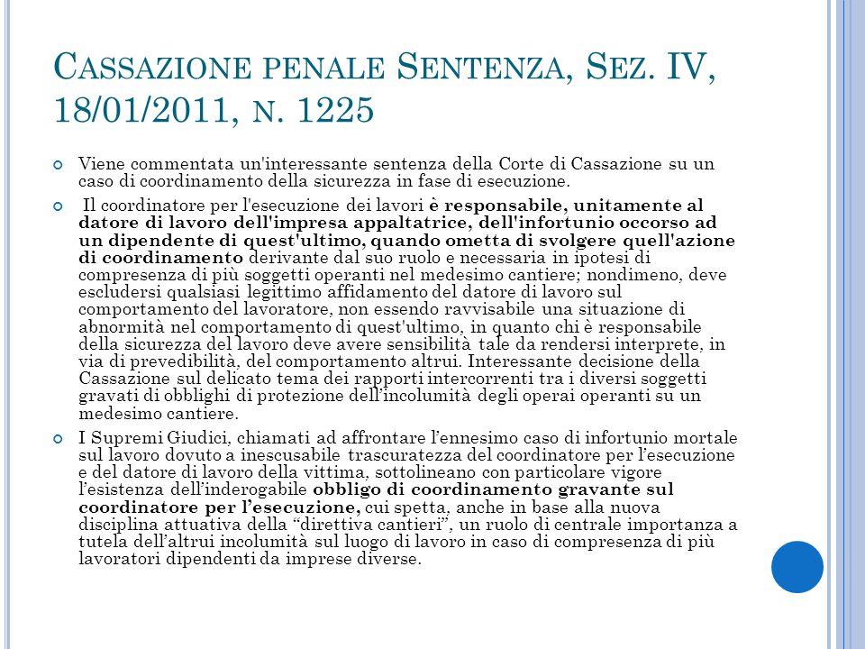 Cassazione penale Sentenza, Sez. IV, 18/01/2011, n. 1225