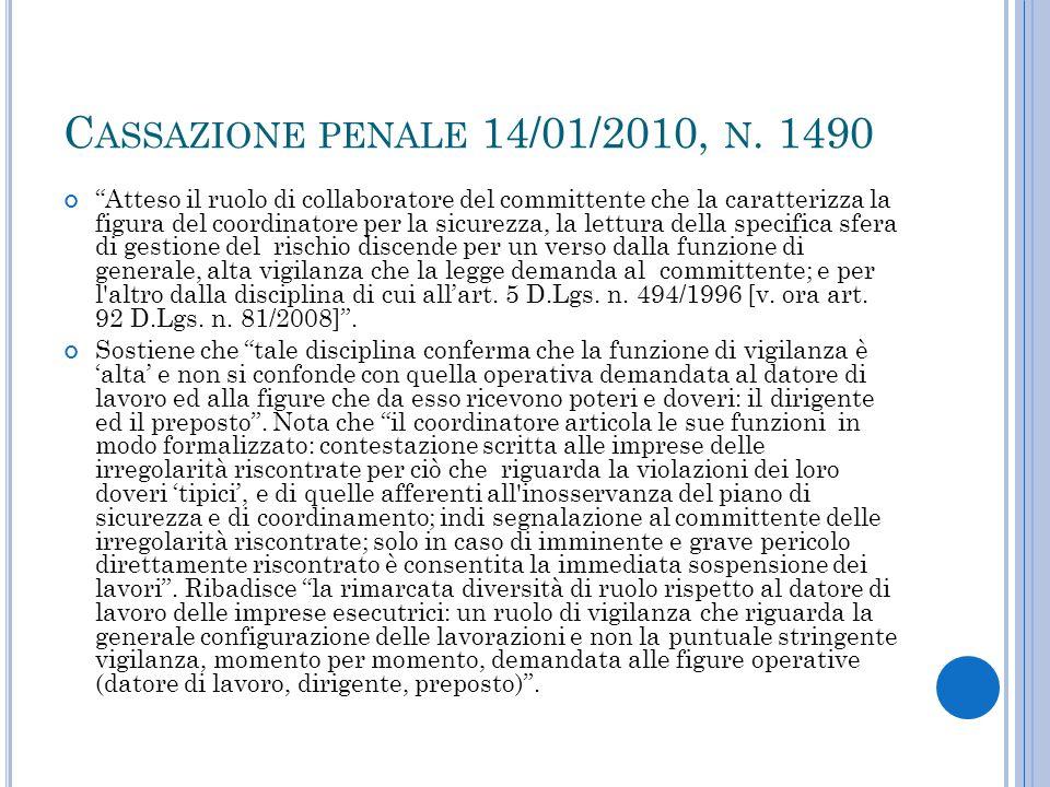 Cassazione penale 14/01/2010, n. 1490