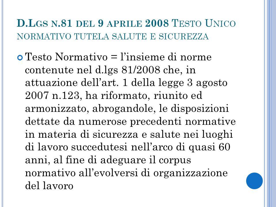D.Lgs n.81 del 9 aprile 2008 Testo Unico normativo tutela salute e sicurezza