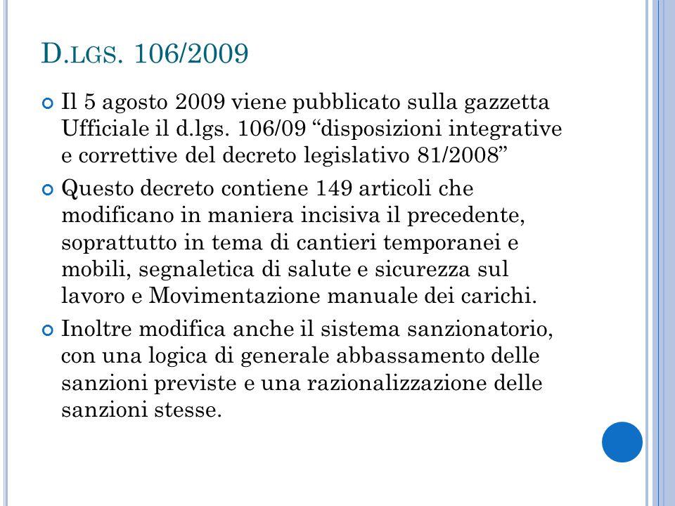 D.lgs. 106/2009