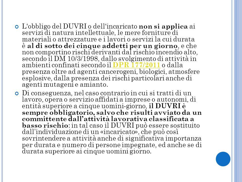 L obbligo del DUVRI o dell incaricato non si applica ai servizi di natura intellettuale, le mere forniture di materiali o attrezzature e i lavori o servizi la cui durata è al di sotto dei cinque addetti per un giorno, e che non comportino rischi derivanti dal rischio incendio alto, secondo il DM 10/3/1998, dallo svolgimento di attività in ambienti confinati secondo il DPR 177/2011 o dalla presenza oltre ad agenti cancerogeni, biologici, atmosfere esplosive, dalla presenza dei rischi particolari anche di agenti mutageni e amianto.