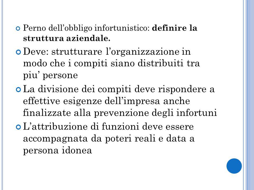 Perno dell'obbligo infortunistico: definire la struttura aziendale.