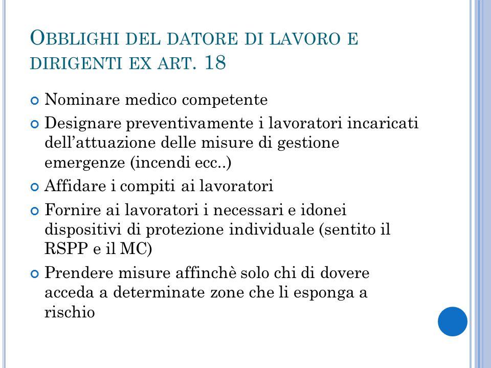Obblighi del datore di lavoro e dirigenti ex art. 18