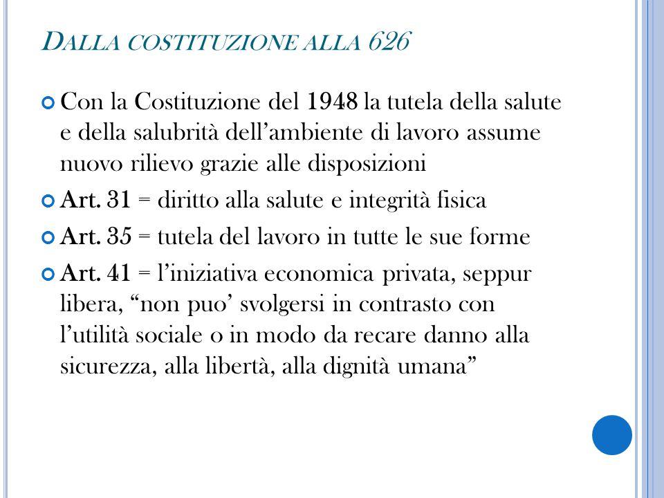 Dalla costituzione alla 626