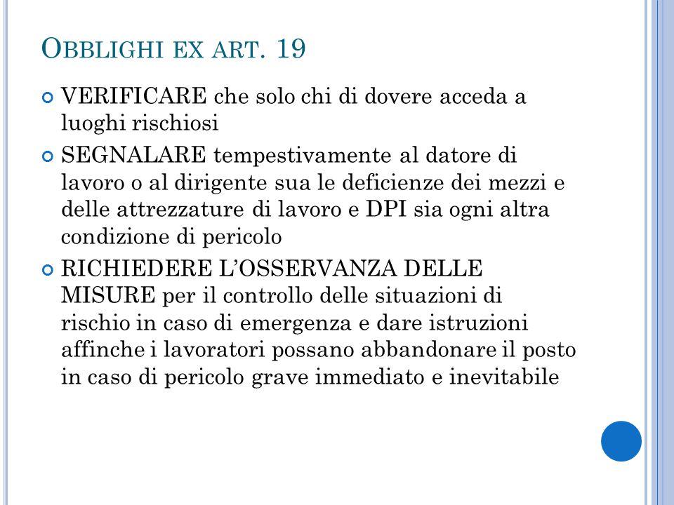 Obblighi ex art. 19 VERIFICARE che solo chi di dovere acceda a luoghi rischiosi.
