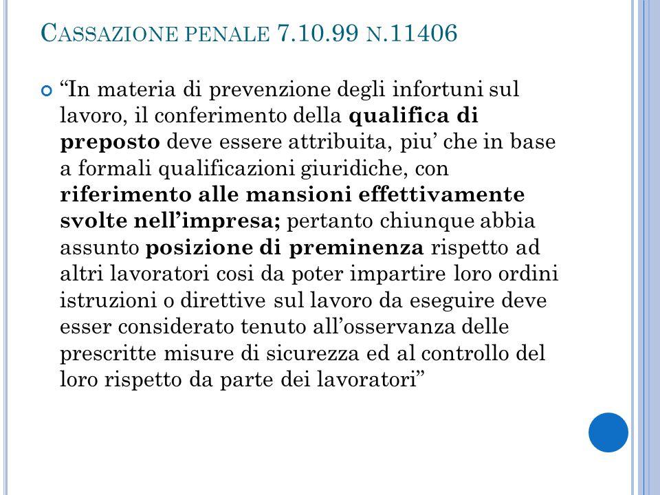 Cassazione penale 7.10.99 n.11406