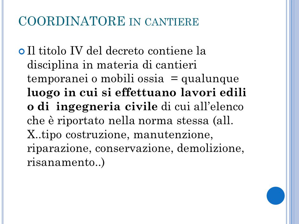 COORDINATORE in cantiere