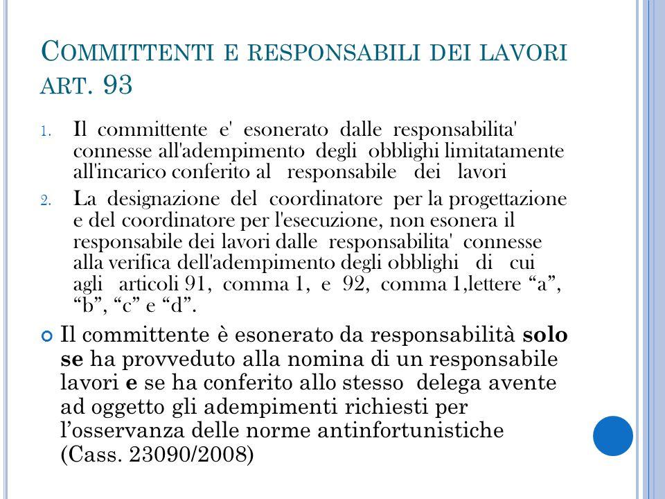 Committenti e responsabili dei lavori art. 93