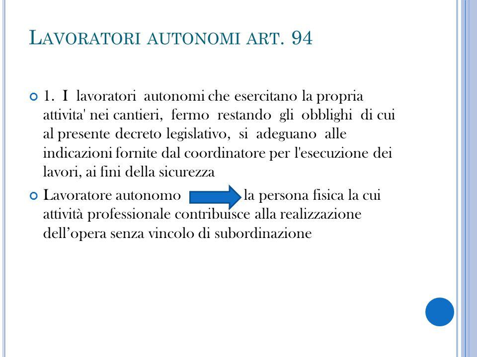 Lavoratori autonomi art. 94