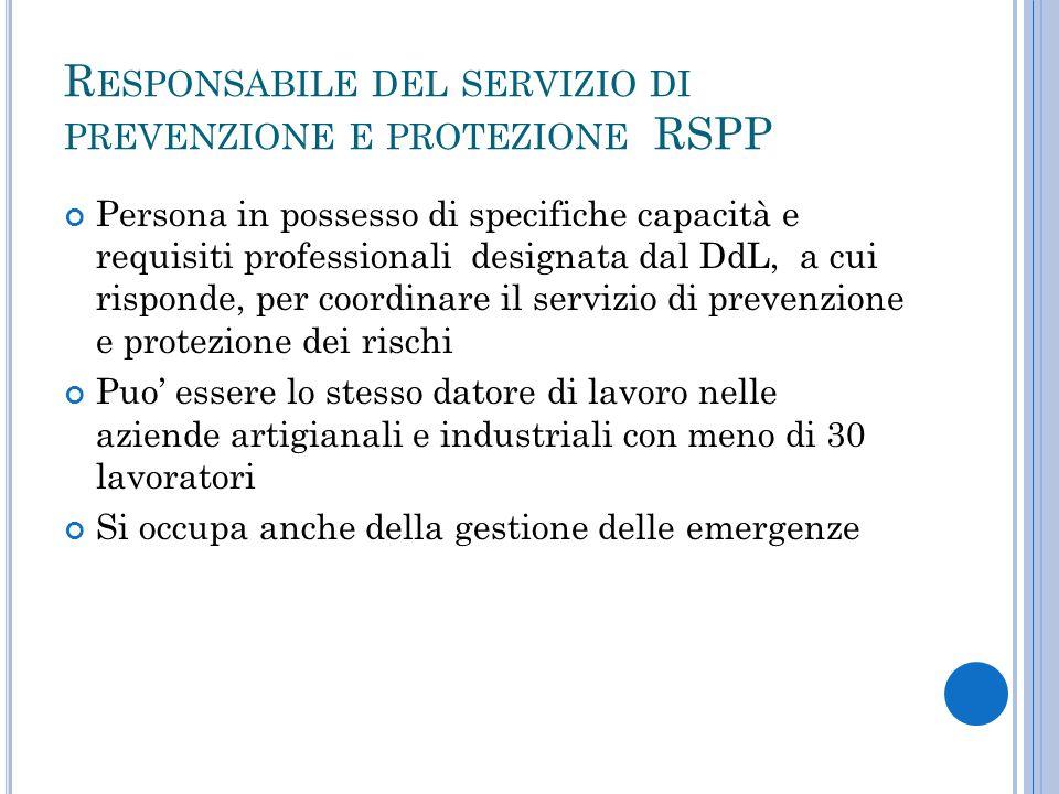 Responsabile del servizio di prevenzione e protezione RSPP