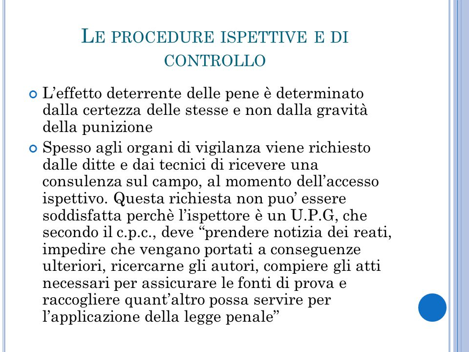 Le procedure ispettive e di controllo
