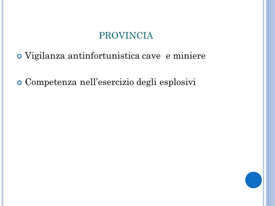 provincia Vigilanza antinfortunistica cave e miniere