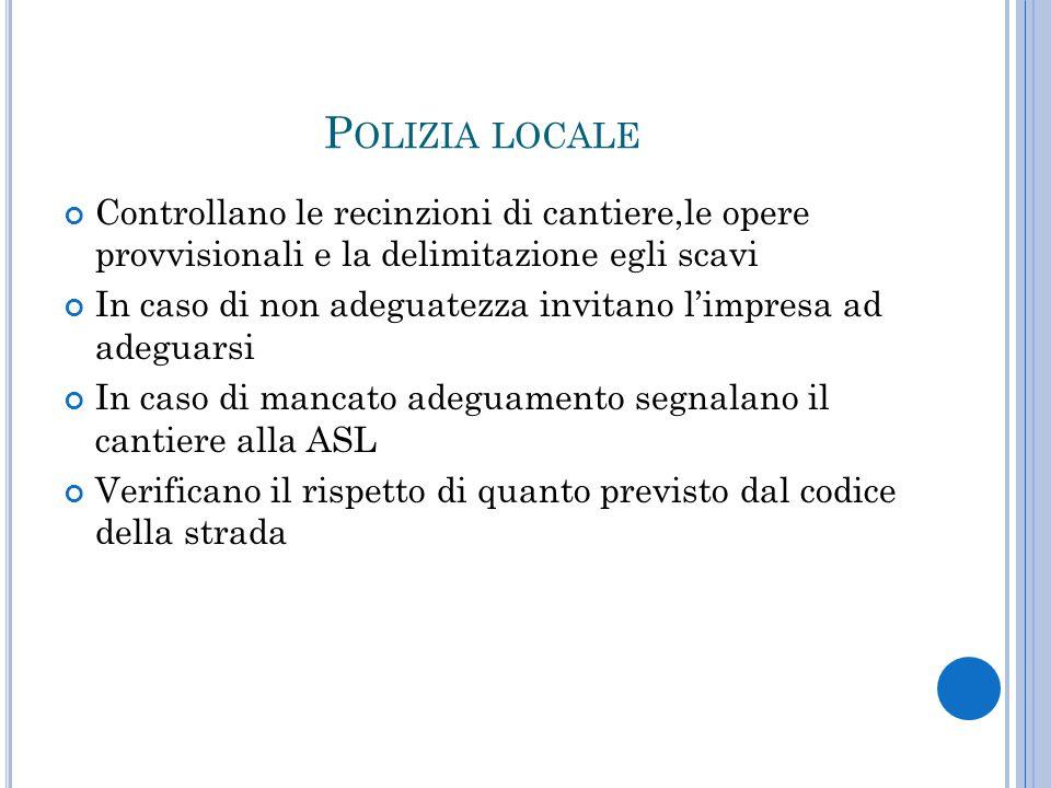 Polizia locale Controllano le recinzioni di cantiere,le opere provvisionali e la delimitazione egli scavi.