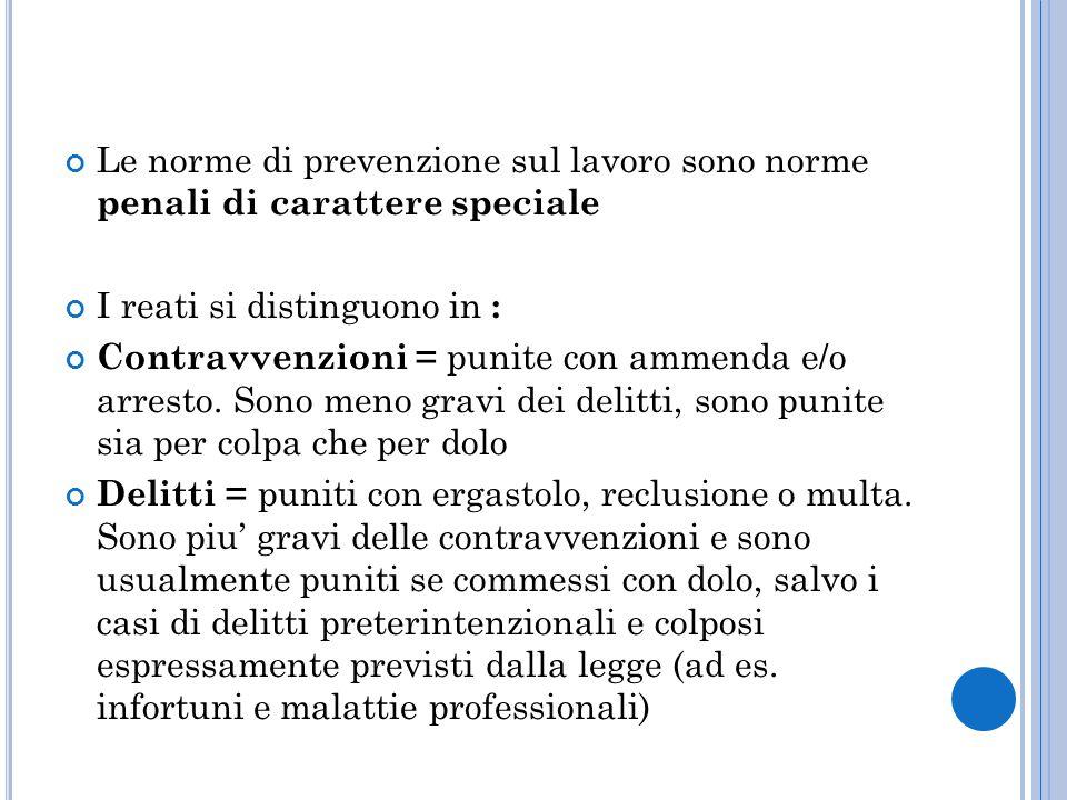 Le norme di prevenzione sul lavoro sono norme penali di carattere speciale