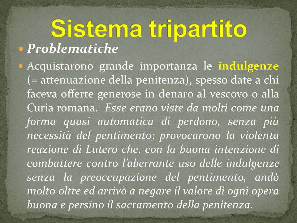 Sistema tripartito Problematiche