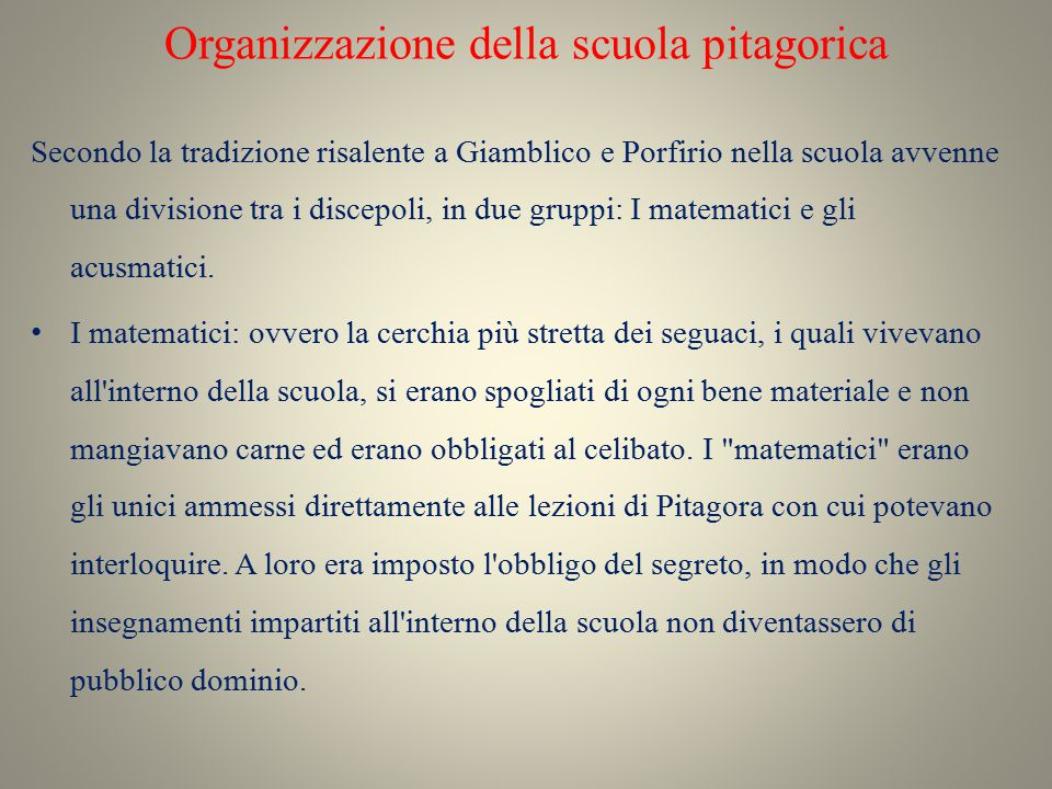Organizzazione della scuola pitagorica