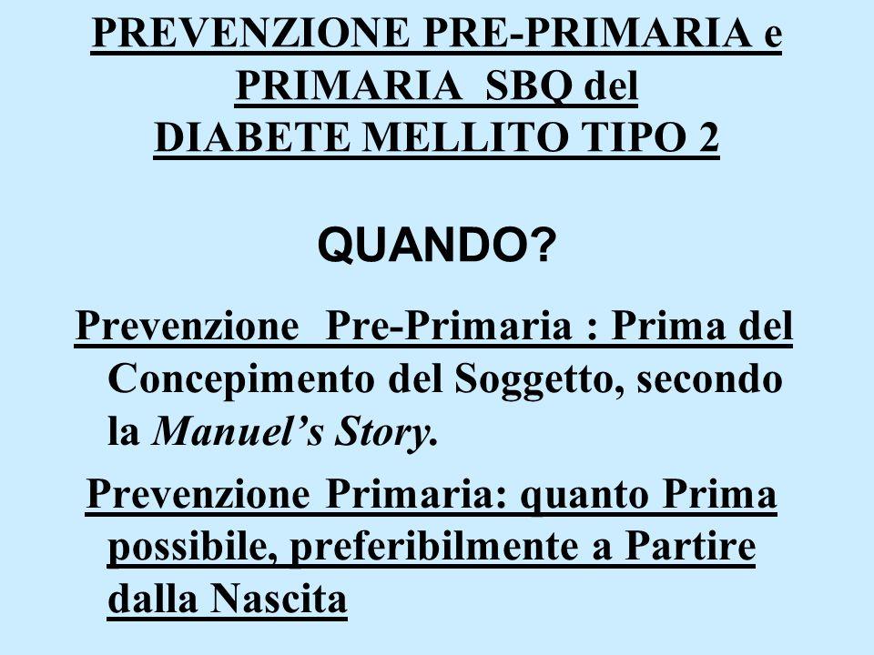 PREVENZIONE PRE-PRIMARIA e PRIMARIA SBQ del DIABETE MELLITO TIPO 2 QUANDO