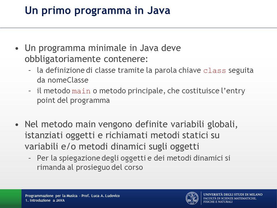 Un primo programma in Java