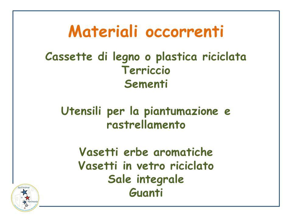 Materiali occorrenti Cassette di legno o plastica riciclata Terriccio