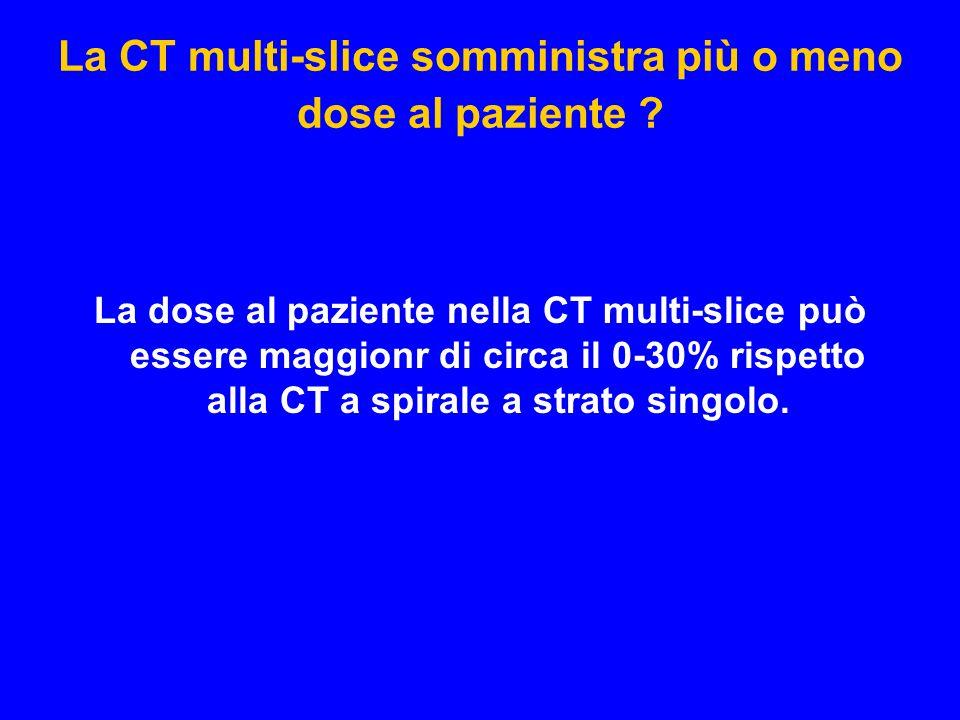 La CT multi-slice somministra più o meno dose al paziente