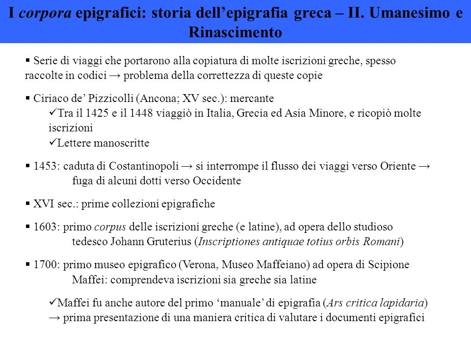 I corpora epigrafici: storia dell'epigrafia greca – II