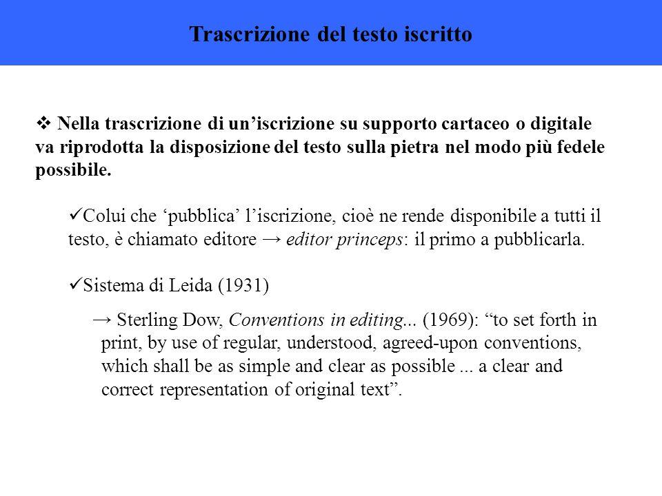 Trascrizione del testo iscritto