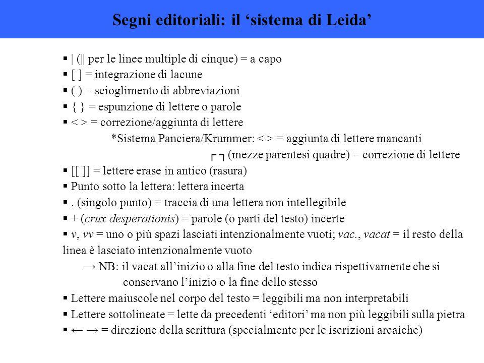 Segni editoriali: il 'sistema di Leida'