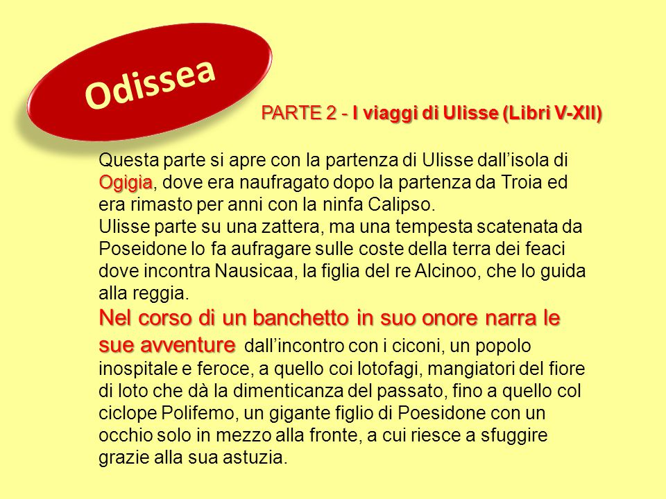 Odissea PARTE 2 - I viaggi di Ulisse (Libri V-XII)