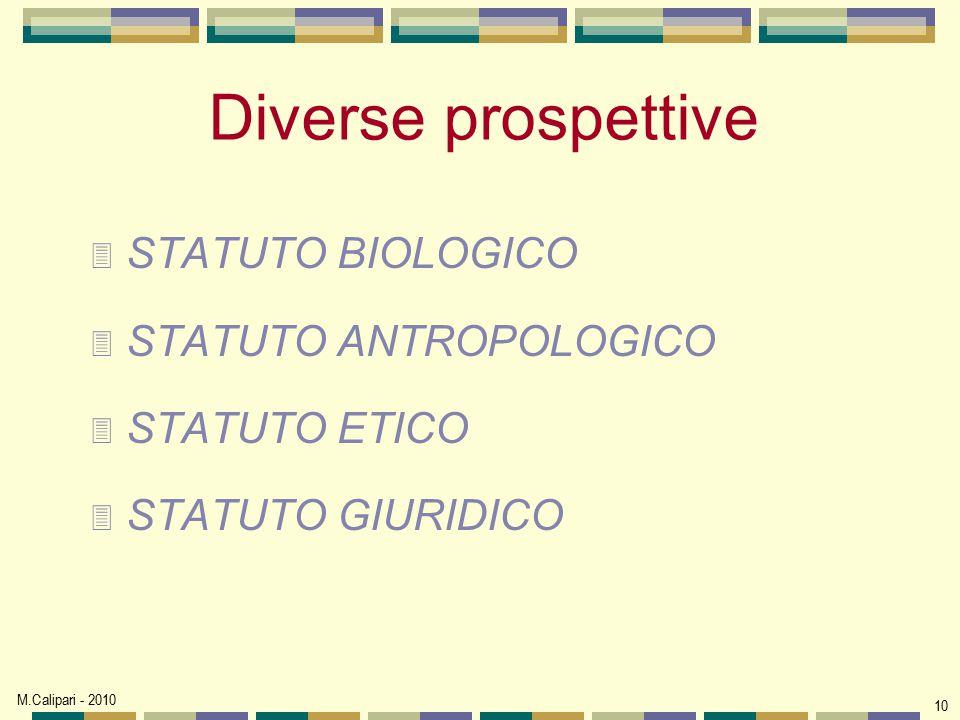Diverse prospettive STATUTO BIOLOGICO STATUTO ANTROPOLOGICO