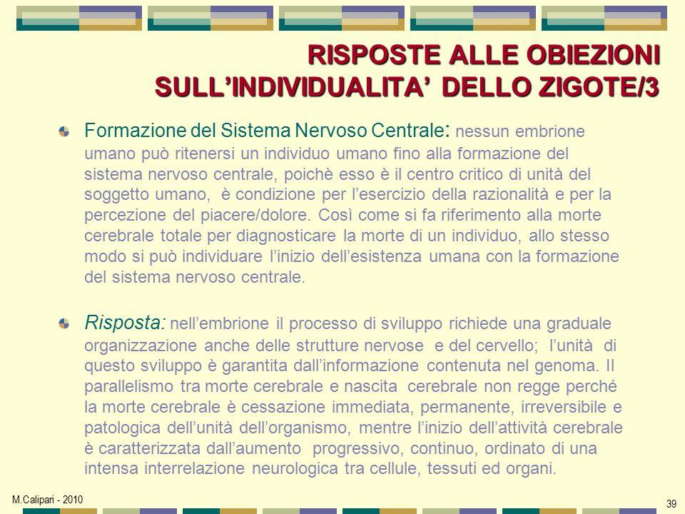 RISPOSTE ALLE OBIEZIONI SULL'INDIVIDUALITA' DELLO ZIGOTE/3