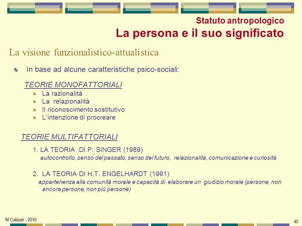 Statuto antropologico La persona e il suo significato
