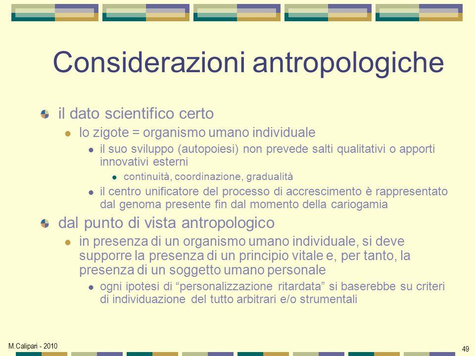 Considerazioni antropologiche