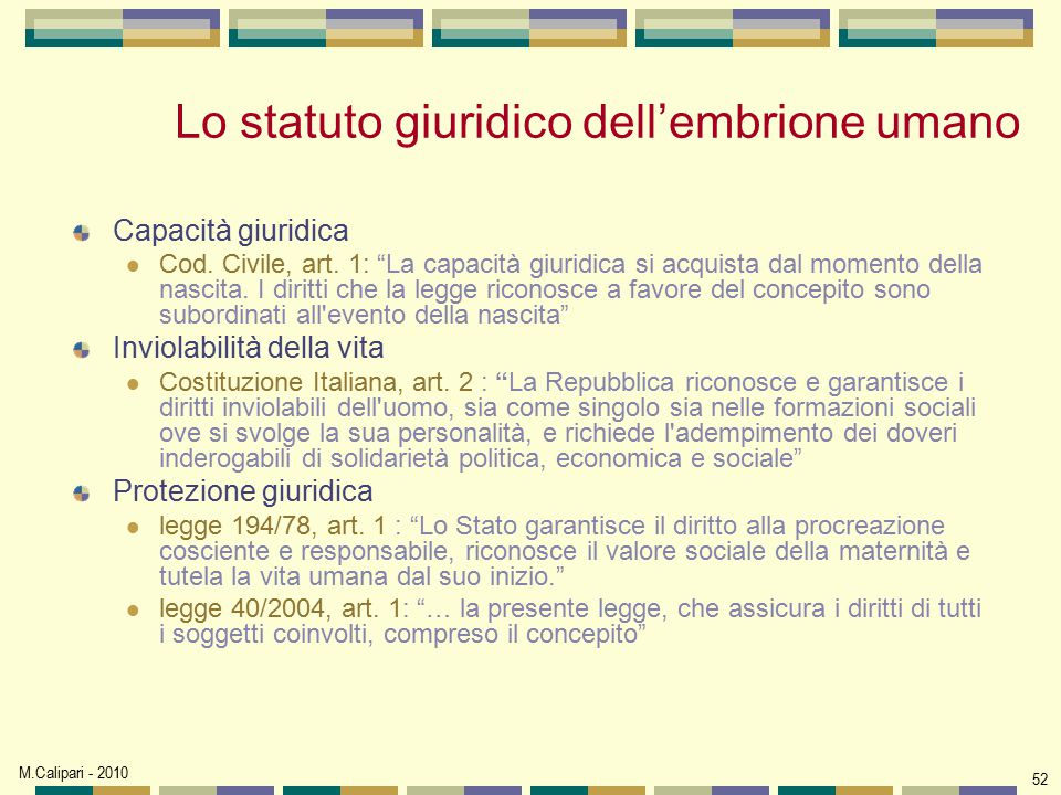 Lo statuto giuridico dell'embrione umano