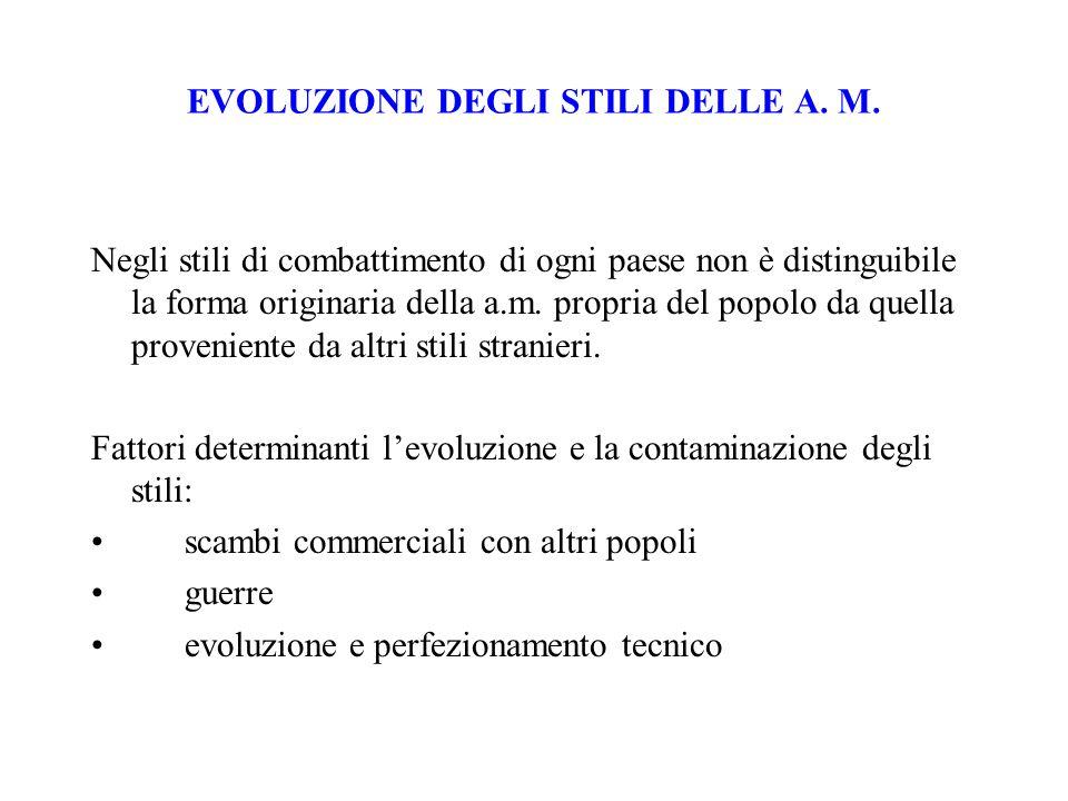 EVOLUZIONE DEGLI STILI DELLE A. M.