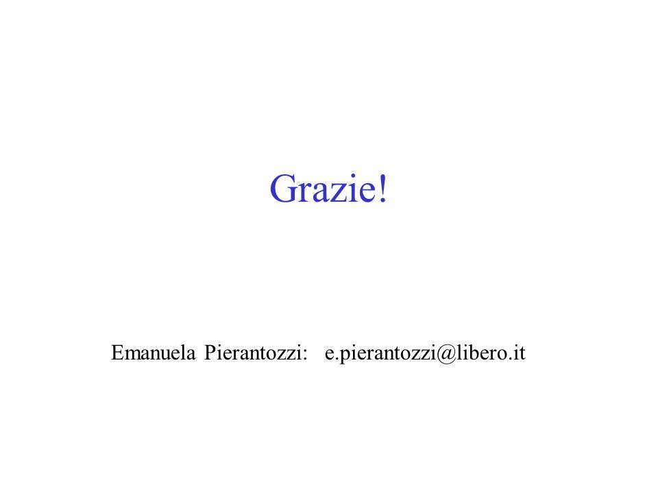 Grazie! Emanuela Pierantozzi: e.pierantozzi@libero.it