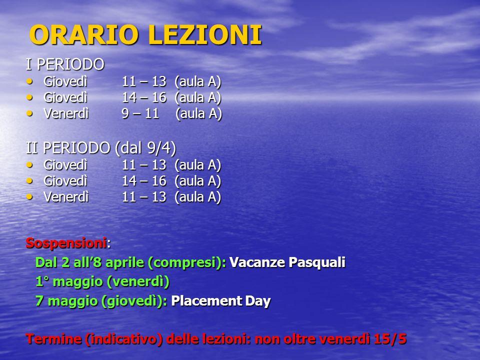 ORARIO LEZIONI I PERIODO II PERIODO (dal 9/4) Giovedì 11 – 13 (aula A)