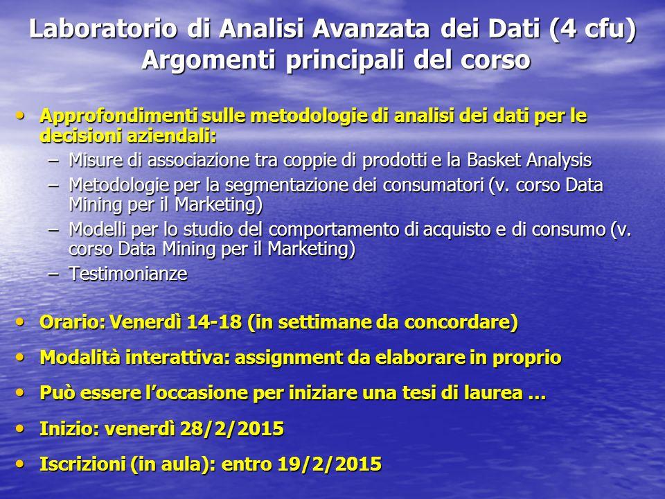 Laboratorio di Analisi Avanzata dei Dati (4 cfu) Argomenti principali del corso