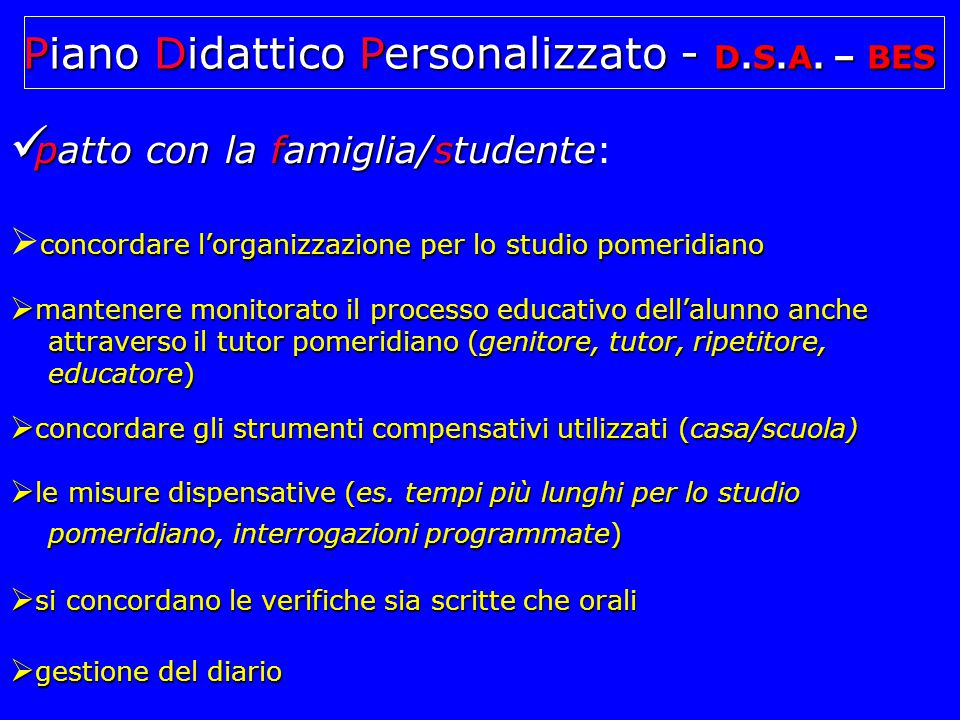 Piano Didattico Personalizzato - D.S.A. – BES
