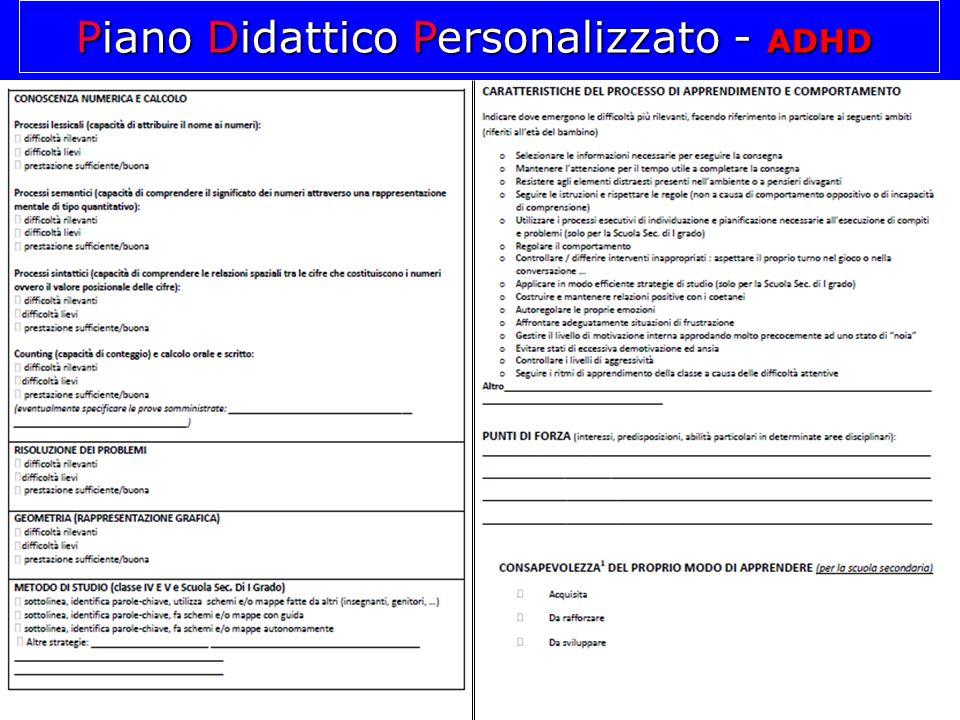 Piano Didattico Personalizzato - ADHD