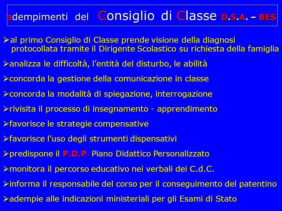 adempimenti del Consiglio di Classe D.S.A. – BES