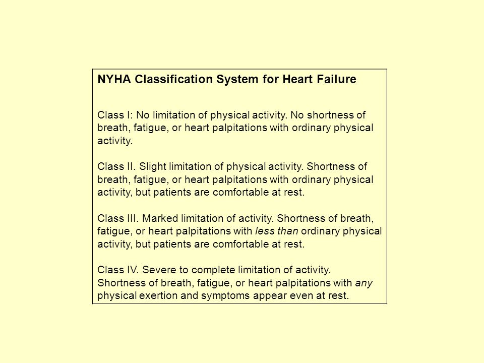 NYHA Classification System for Heart Failure
