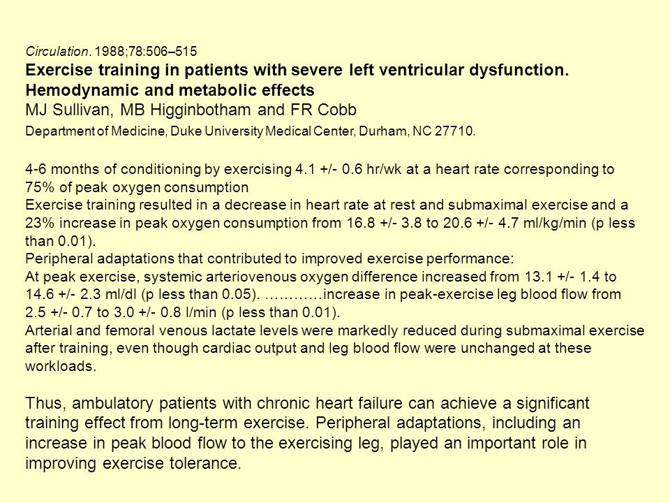 Circulation. 1988;78:506–515 Exercise training in patients with severe left ventricular dysfunction. Hemodynamic and metabolic effects.