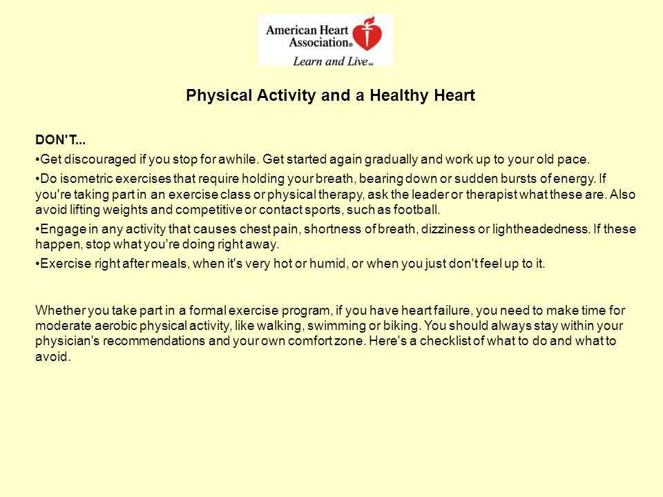 Physical Activity and a Healthy Heart