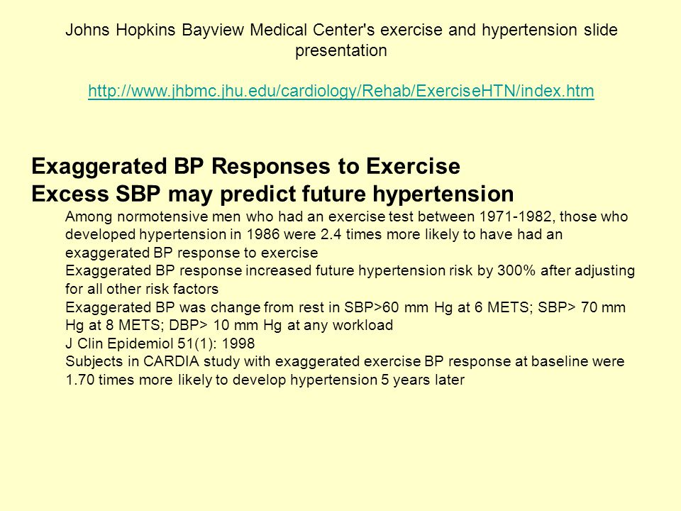 Exaggerated BP Responses to Exercise