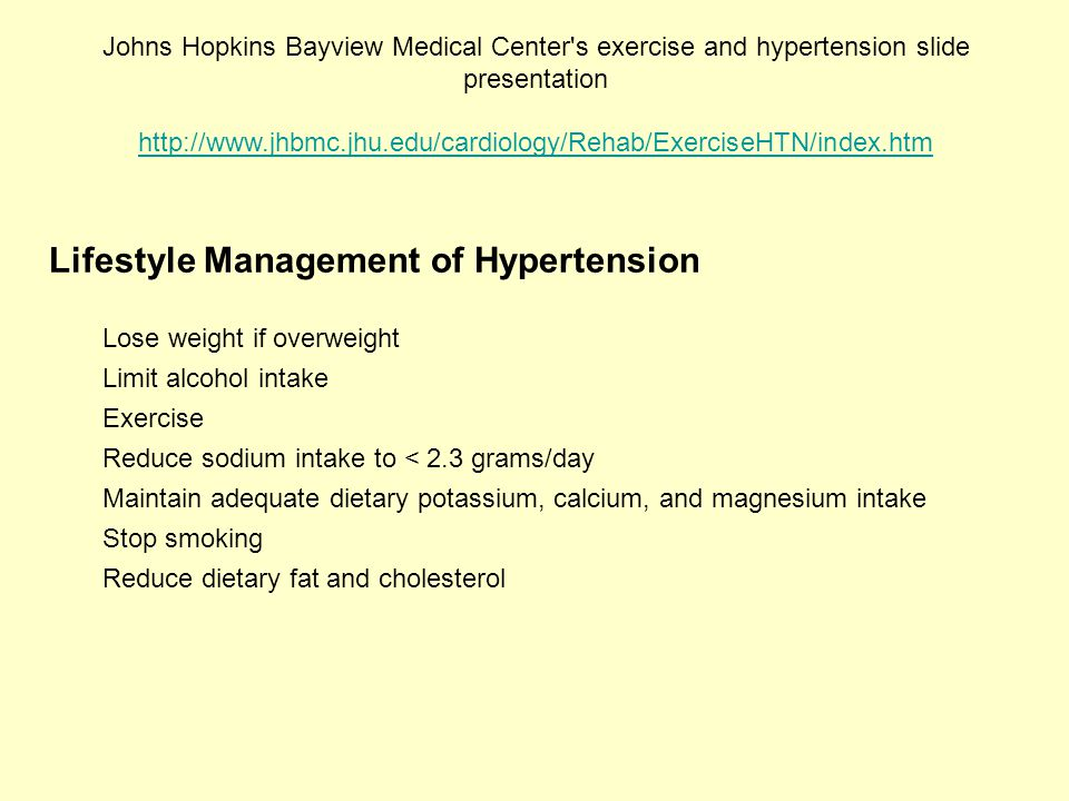 Lifestyle Management of Hypertension