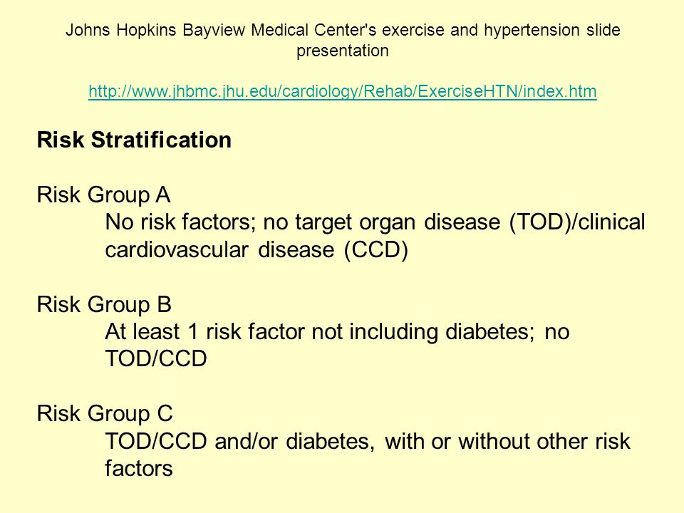 At least 1 risk factor not including diabetes; no TOD/CCD