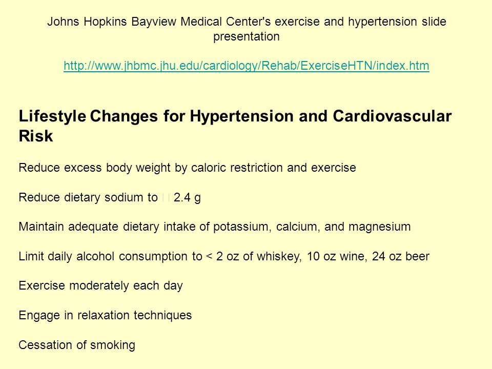 Lifestyle Changes for Hypertension and Cardiovascular Risk