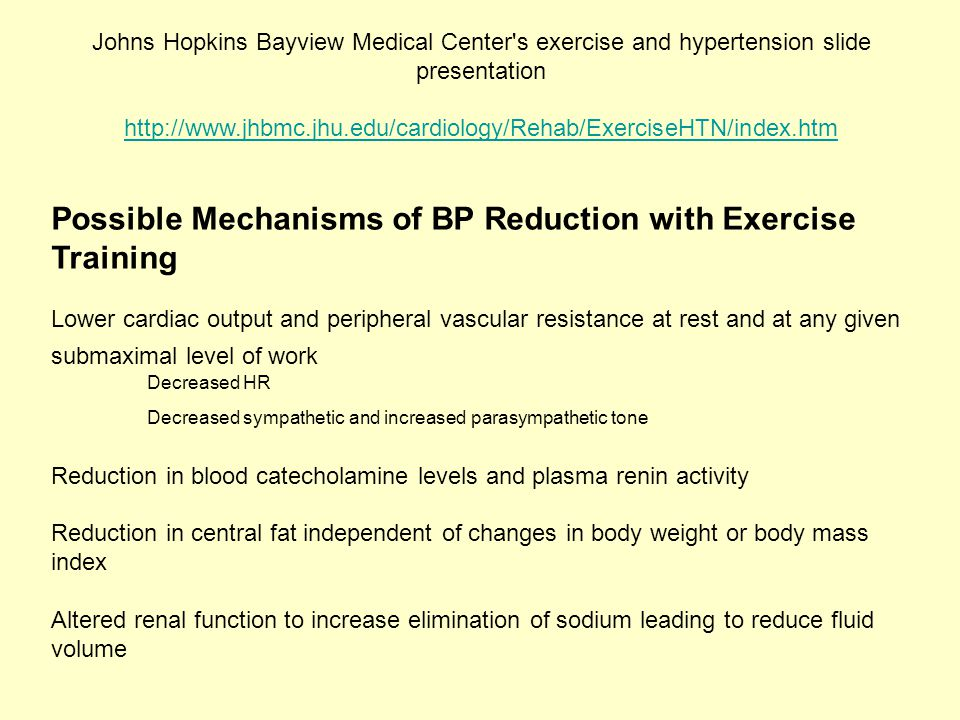 Possible Mechanisms of BP Reduction with Exercise Training