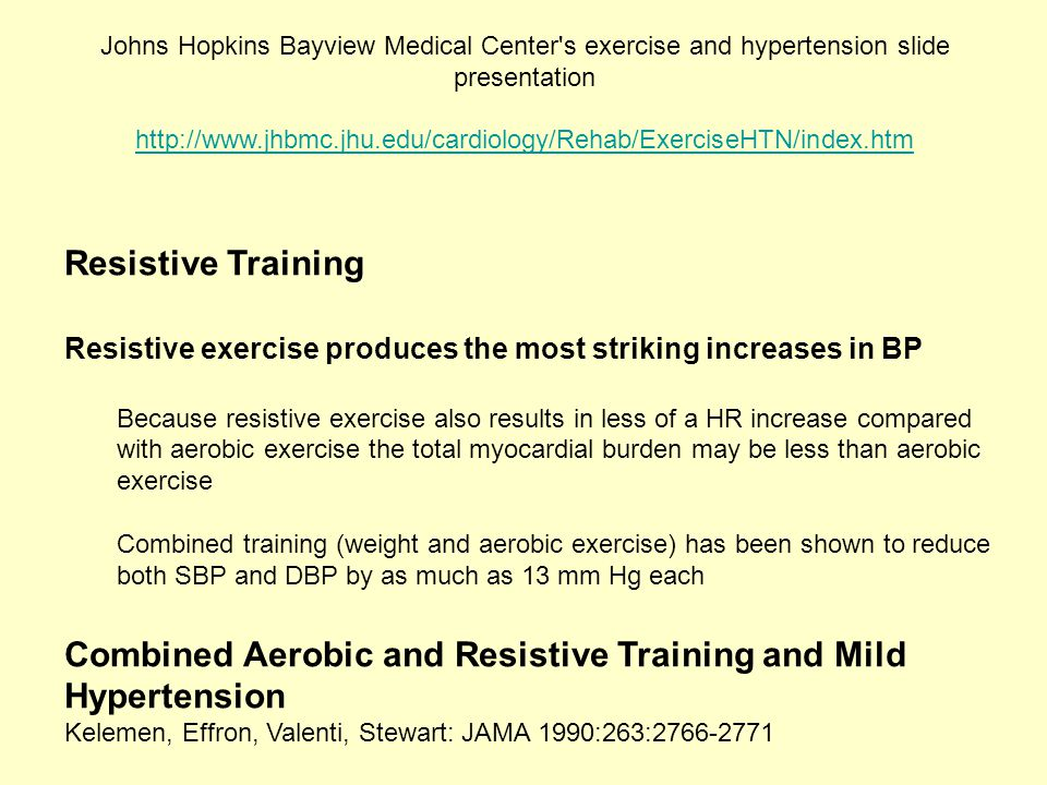 Combined Aerobic and Resistive Training and Mild Hypertension