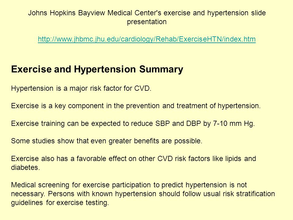Exercise and Hypertension Summary